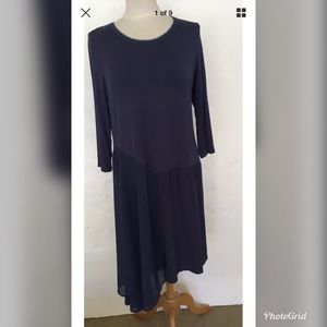 Soft Surroundings Blue Asymmetrical Hem Dress Sz L